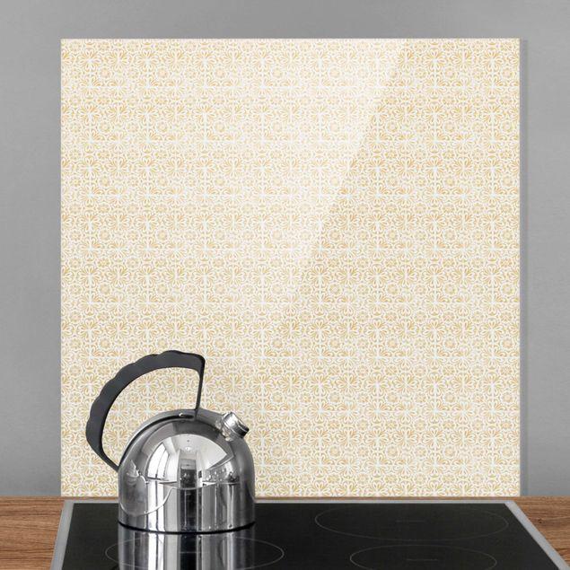 Spritzschutz Glas - Vintage Muster Portugiesische Fliesen - Quadrat 1:1