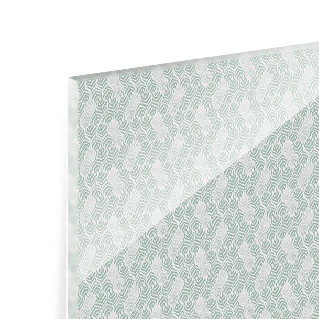 Spritzschutz Glas - Vintage Muster Zweig mit Blättern - Querformat 2:1