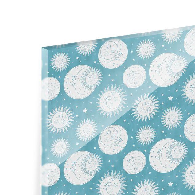 Spritzschutz Glas - Vintage Sonne, Mond und Sterne - Querformat 3:2