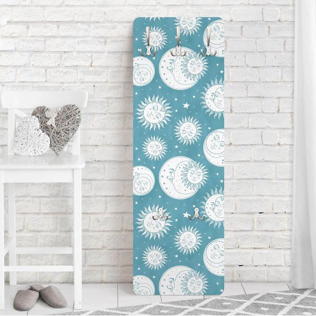 Garderobe - Vintage Sonne, Mond und Sterne