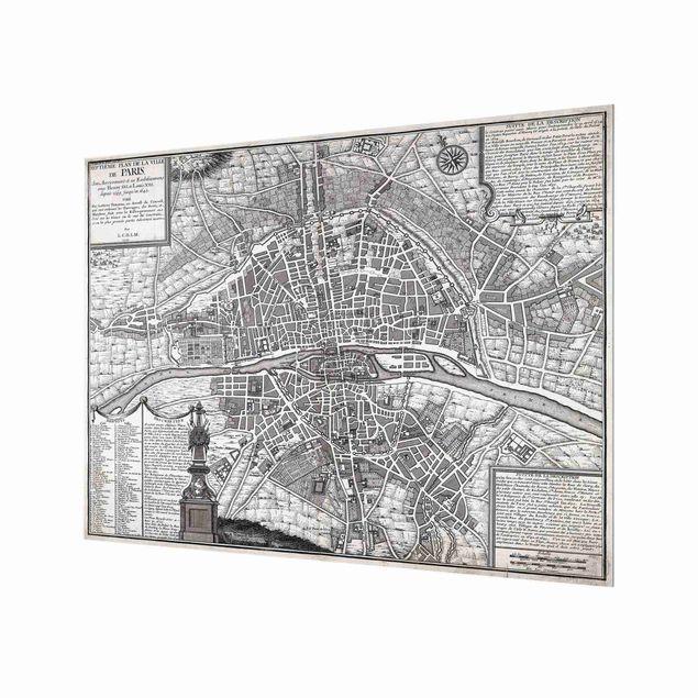 Spritzschutz Glas - Vintage Stadtplan Paris um 1600 - Querformat 4:3