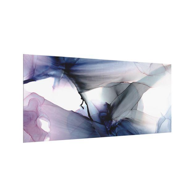 Spritzschutz Glas - Violett im Fluss - Querformat 2:1