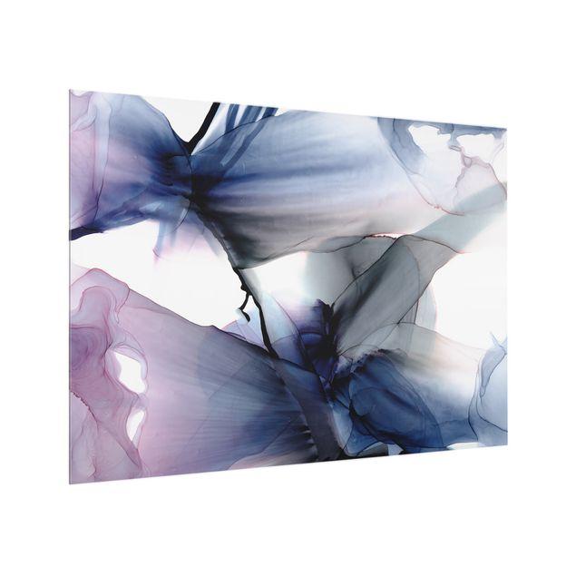 Spritzschutz Glas - Violett im Fluss - Querformat 4:3