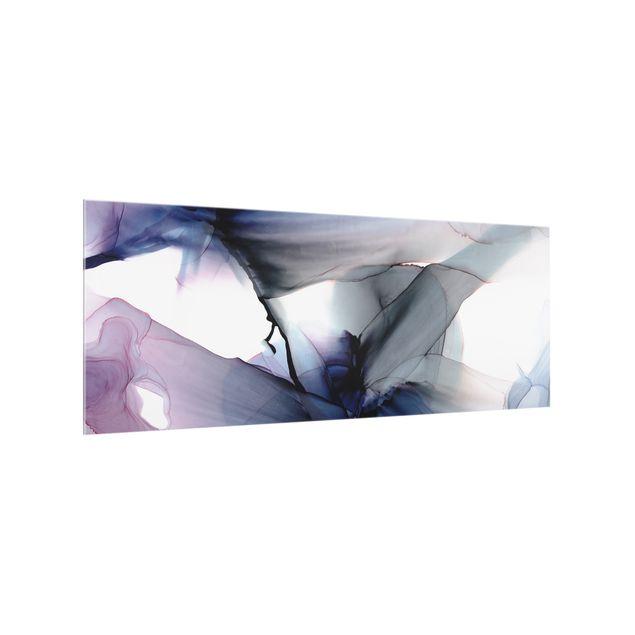 Spritzschutz Glas - Violett im Fluss - Panorama 5:2