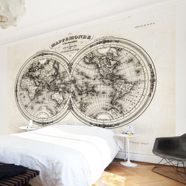 Fototapete Weltkarte - Französische Karte der Hemissphären von 1848