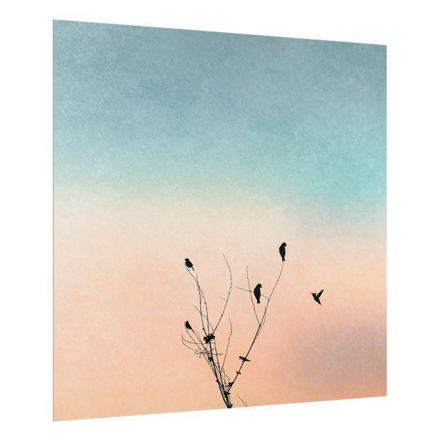 Spritzschutz Glas - Vögel vor rosa Sonne II - Quadrat 1:1