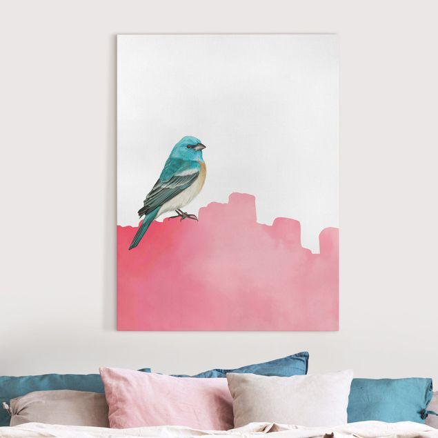Leinwandbild - Vogel auf Pink - Hochformat 3:4