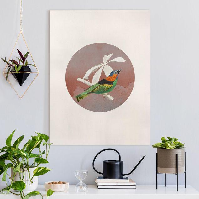 Leinwandbild - Vogel Collage im Kreis II - Hochformat 3:4