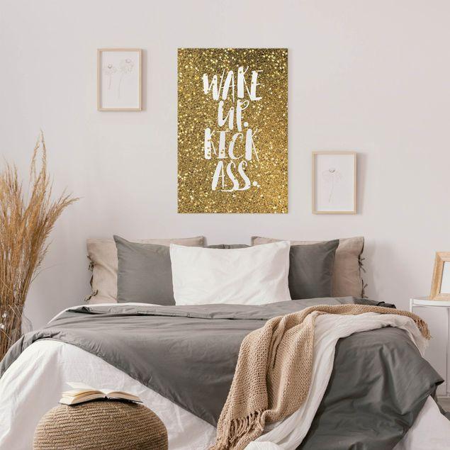 Leinwandbild - Wake up Kick Ass Gold - Hochformat 2:3