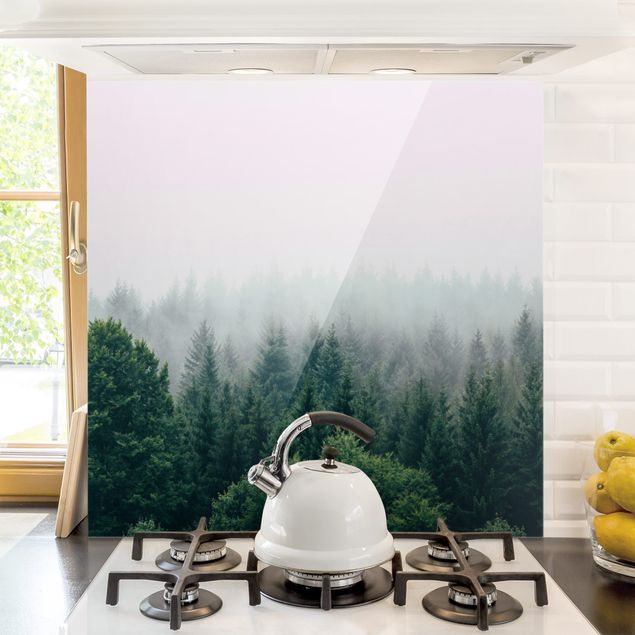 Spritzschutz Glas - Wald im Nebel Dämmerung - Quadrat 1:1