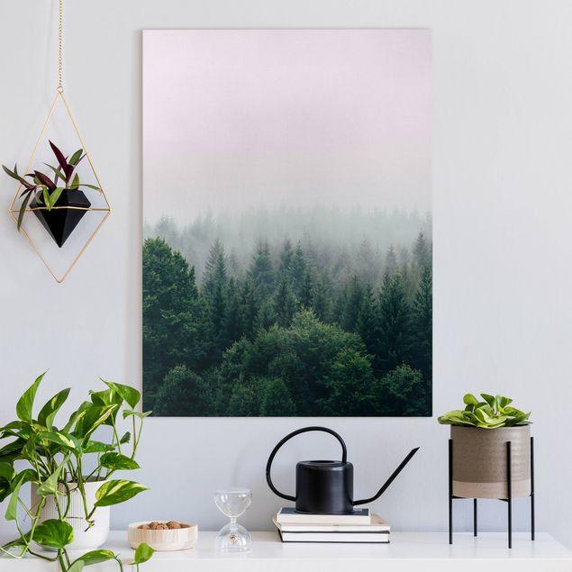 Leinwandbild - Wald im Nebel Dämmerung - Hochformat 3:4