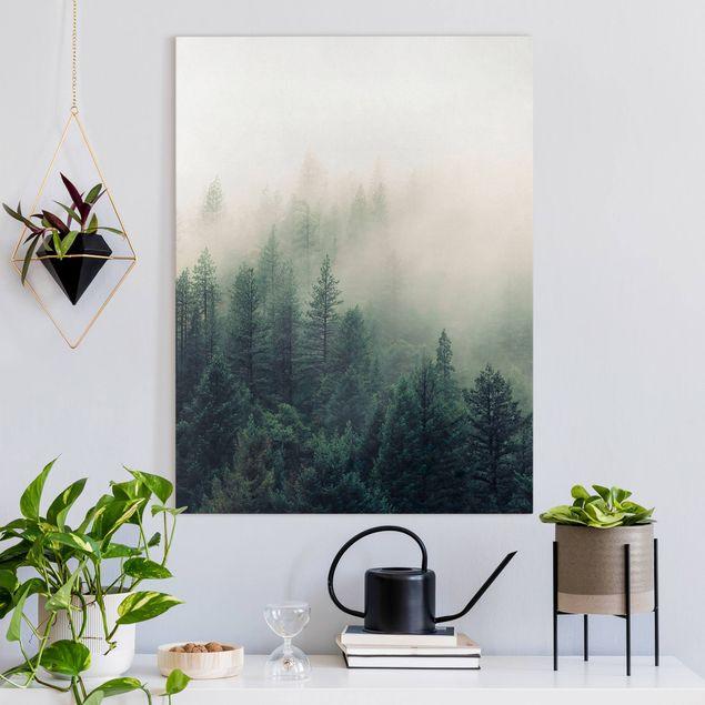 Leinwandbild - Wald im Nebel Erwachen - Hochformat 3:4