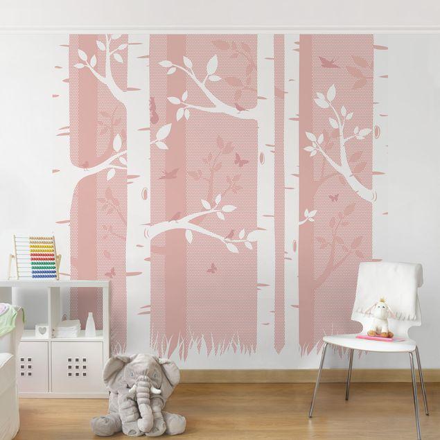 Kinderzimmer Tapete - Rosa Birkenwald mit Schmetterlingen und Vögel ...