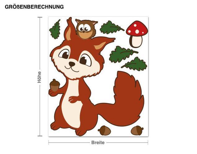 Wandsticker Eichhörnchen und Eule