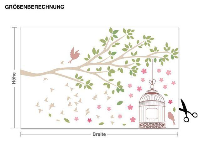 Wandsticker Frühlingszweig mit Vogelkäfig