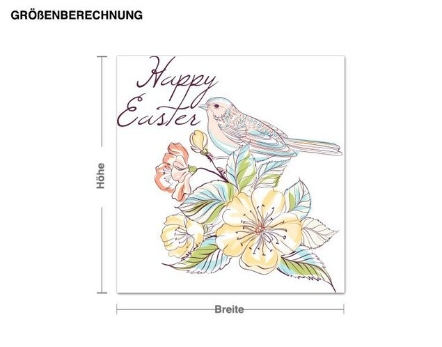 Wandsticker Happy Easter Vogel Vintage