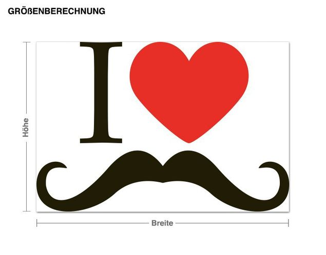 Wandsticker I love Moustache