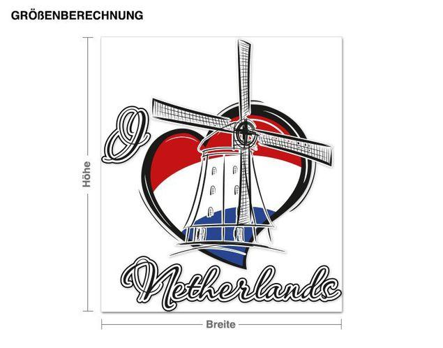 Wandsticker I love Netherlands