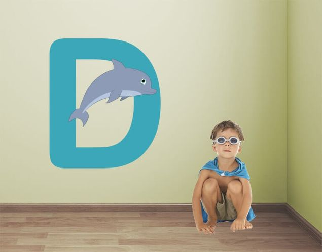 Wandsticker Kinder ABC - Delphin