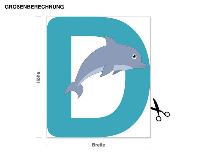 Wandsticker Kinder ABC - Delphin