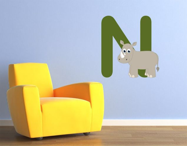Wandsticker Kinder ABC - Nashorn
