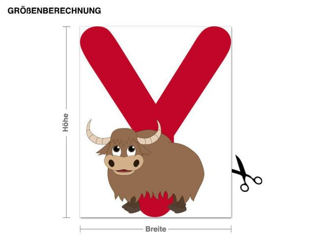 Wandsticker Kinder ABC - Yak