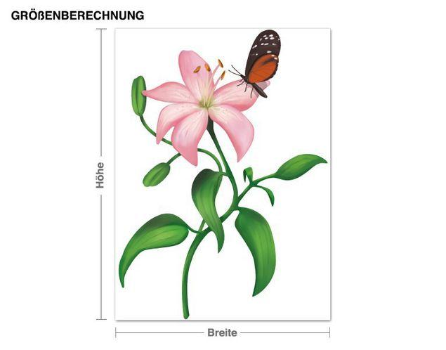Wandsticker Lilie mit Schmetterling