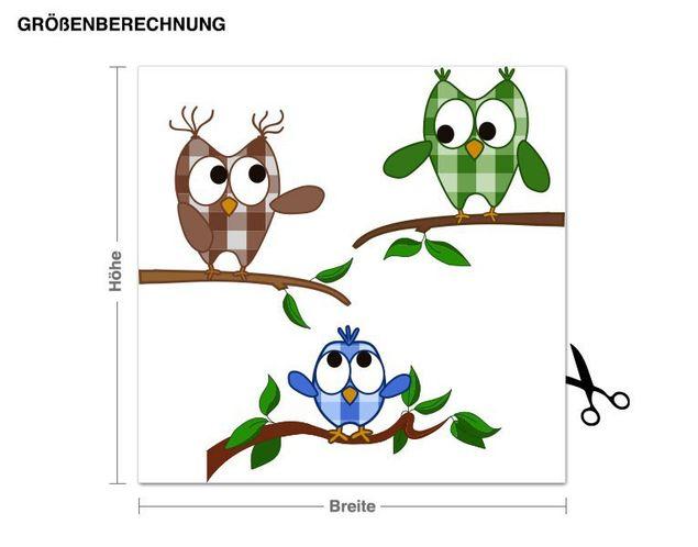 Wandsticker Muster Eulenfamilie