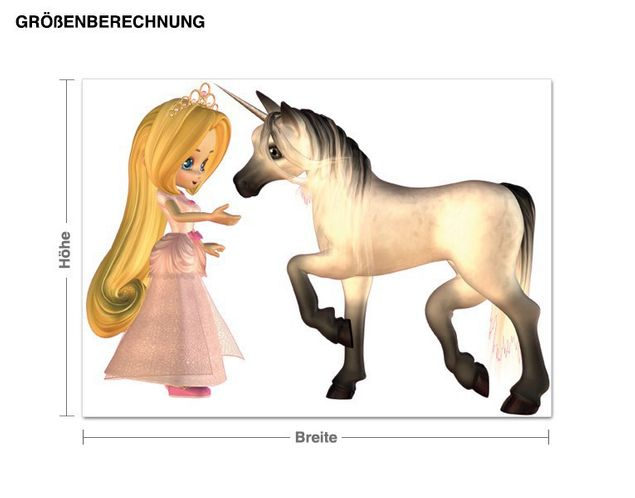 Wandsticker Prinzessin mit Einhorn