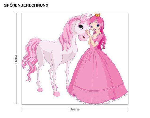 Wandsticker Prinzessin mit ihrem Pferd