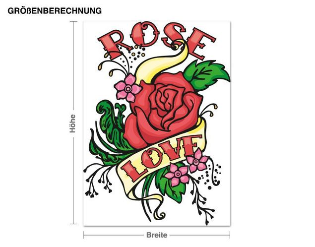 Wandsticker Rose Love