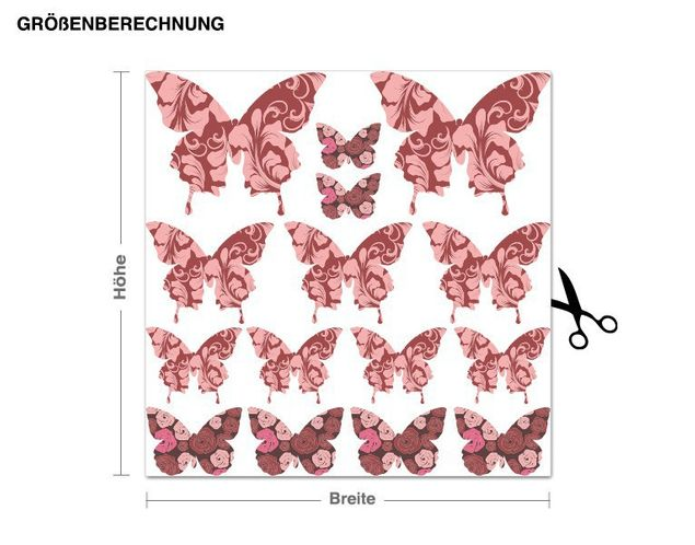 Wandsticker Schmetterling-Set Floral