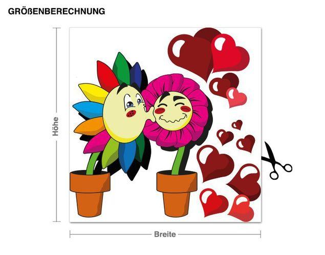 Wandsticker Verliebte Blumen