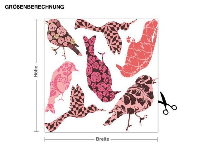 Wandsticker Vögel-Florale Muster Set