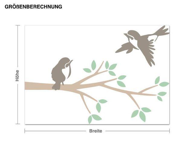 Wandsticker Zweig mit Vögeln