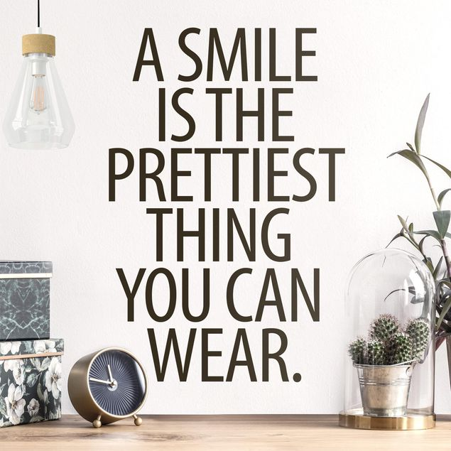 Wandtattoo - A Smile is the prettiest thing Sans Serif