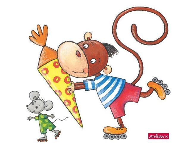 Wandtattoo Affe und Maus beim Inline-Skaten