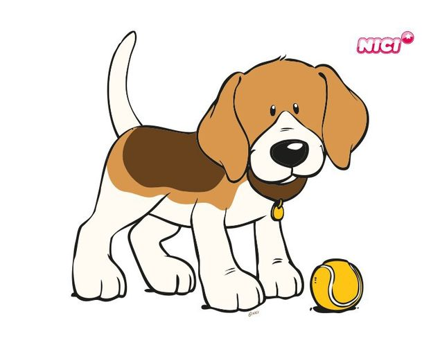 Wandtattoo Beagle mit Tennisball