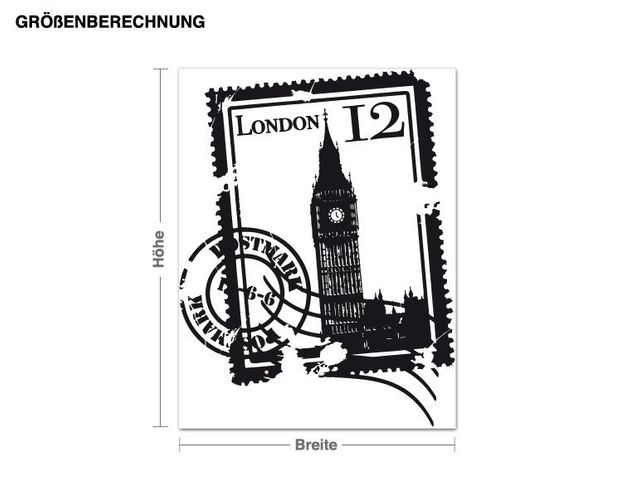 Wandtattoo Briefmarke London