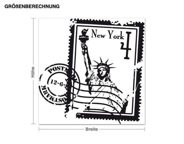 Wandtattoo Briefmarke New York