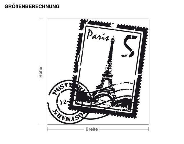 Wandtattoo Briefmarke Paris