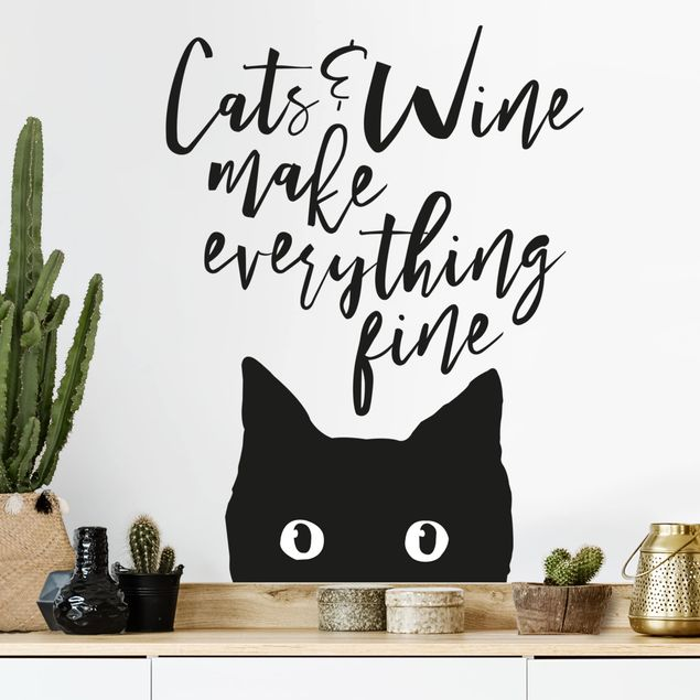 Wandtattoo - Cats and Wine make everything fine