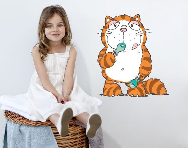 Wandtattoo Cool Cats Hungry mit Fisch