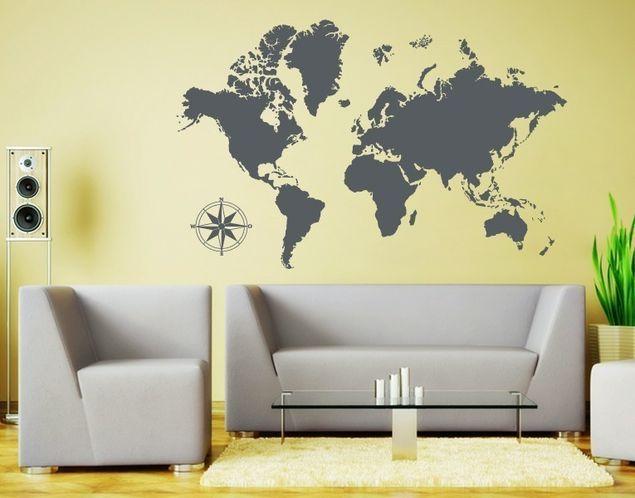 Wandtattoo Detaillierte Weltkarte