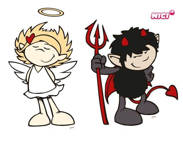 Wandtattoo Devil & Angel