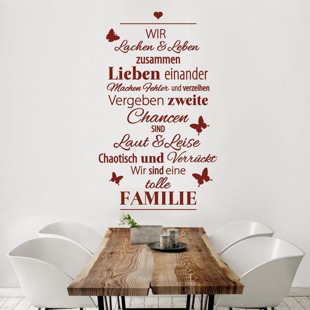 Wandtattoo Sprüche - Eine tolle Familie