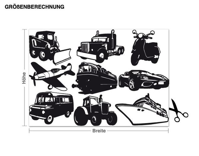Wandtattoo Fahrzeuge-Set
