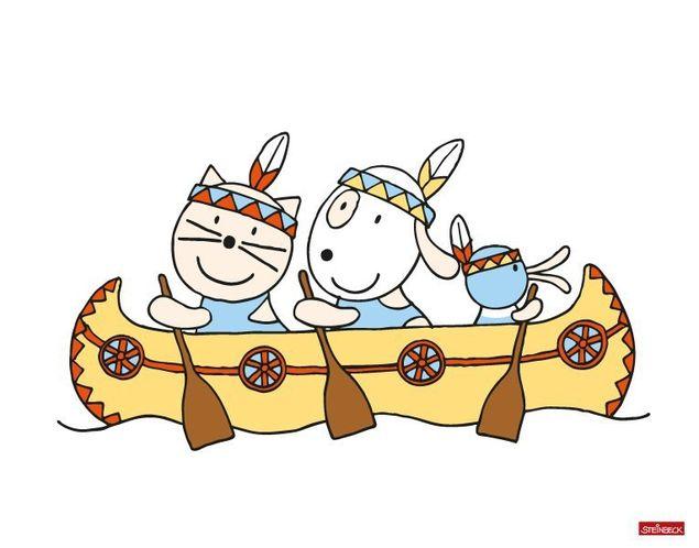 Wandtattoo Farmily Indianer fahren im Kanu