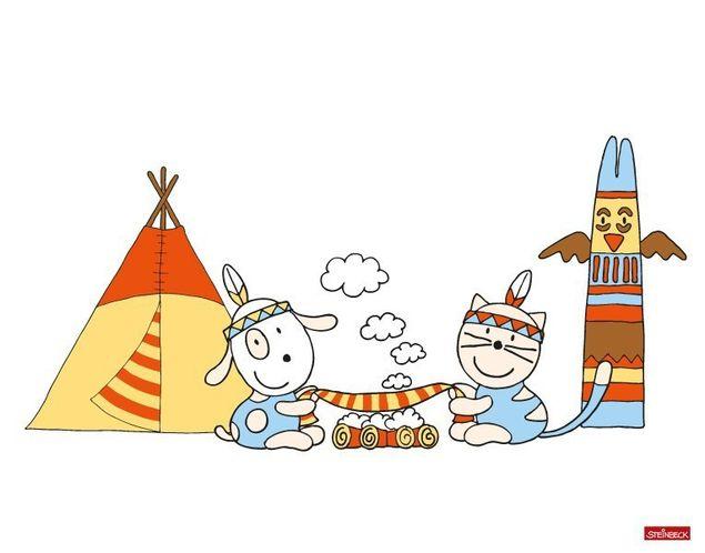 Wandtattoo Farmily Indianer machen Rauchzeichen