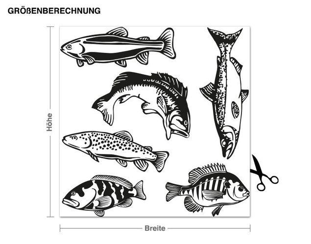 Wandtattoo Fisch-Set